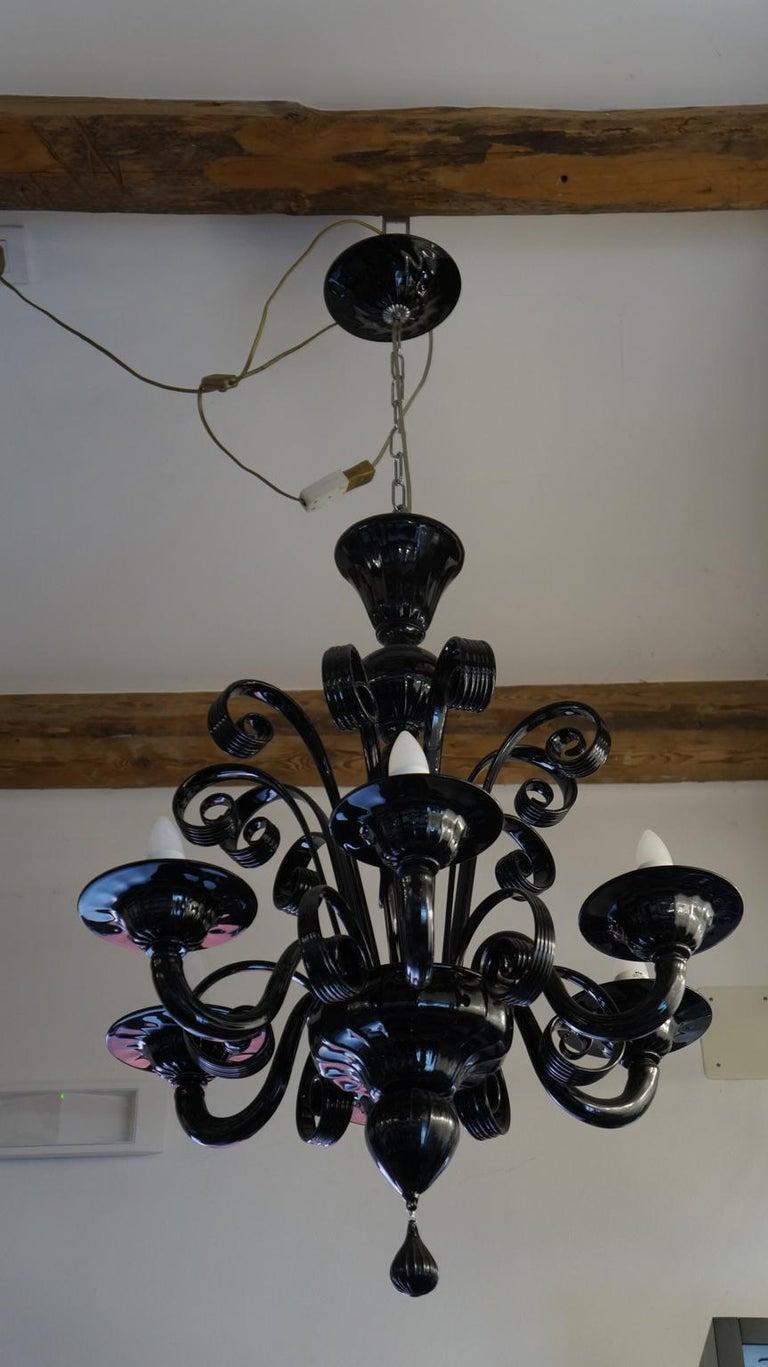 Mazzucato Mid-Century Modern Black Italian Murano Glass Chandelier, 1984 For Sale 10