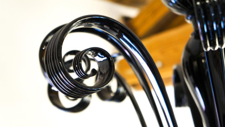 Mazzucato Mid-Century Modern Black Italian Murano Glass Chandelier, 1984 For Sale 15