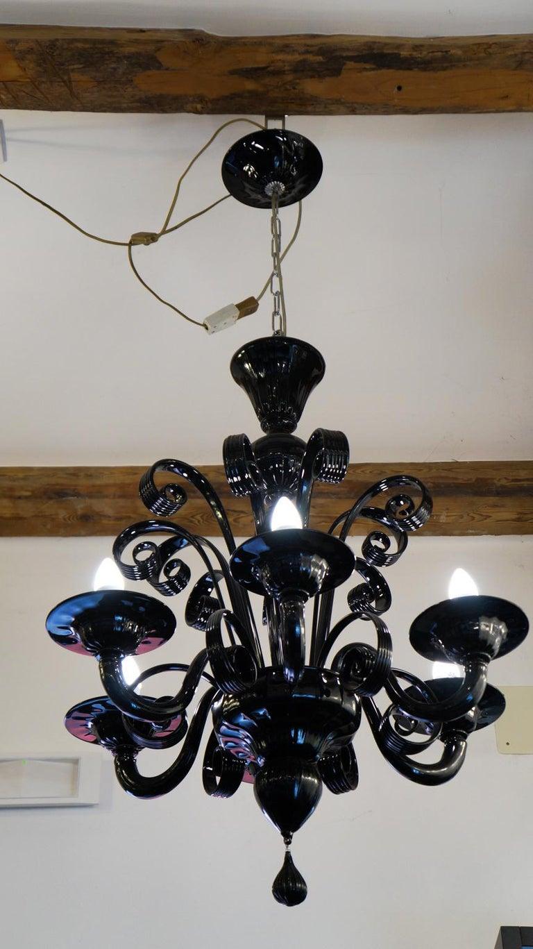 Mazzucato Mid-Century Modern Black Italian Murano Glass Chandelier, 1984 In Excellent Condition For Sale In Murano, Venezia