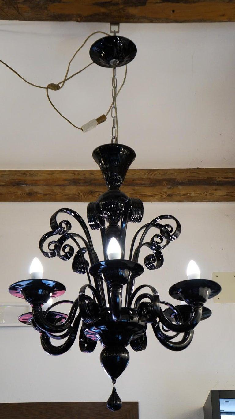 Late 20th Century Mazzucato Mid-Century Modern Black Italian Murano Glass Chandelier, 1984 For Sale