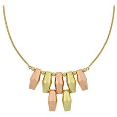 M.C. Mossalone Retro Two-Tone Gold Fringe Necklace