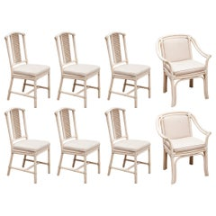 McQuire, Faux Bamboo Eight Chairs Dining Set White Colored, 1980s