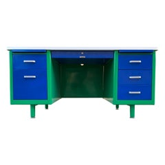 McDowell Craig Midcentury Tanker Desk Refinished in Bauhaus Colors, in Stock