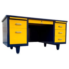 McDowell Craig Midcentury Tanker Desk Refinished in Blue and Yellow