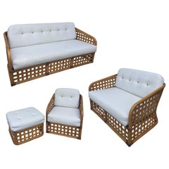McGuire 4 Piece Set Sofa Love Seat Chair Ottoman Open Square Basket Design