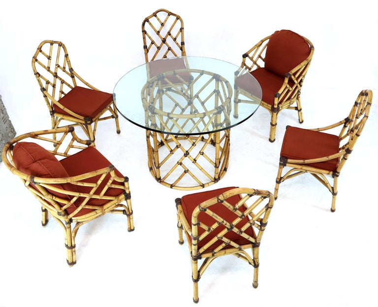McGuire 7  Pieces Bamboo Dining Set Round Glass Top Table Two Arm Chairs Leather In Good Condition For Sale In Rockaway, NJ