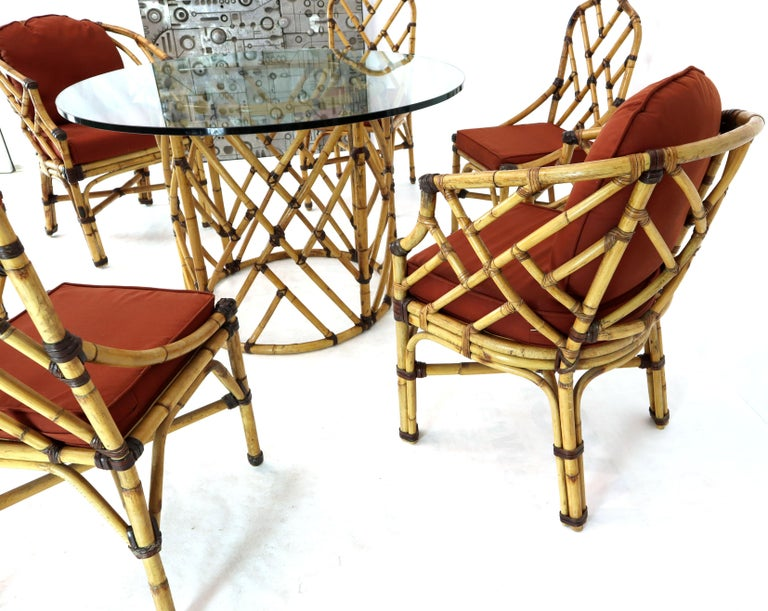 McGuire 7  Pieces Bamboo Dining Set Round Glass Top Table Two Arm Chairs Leather For Sale 1