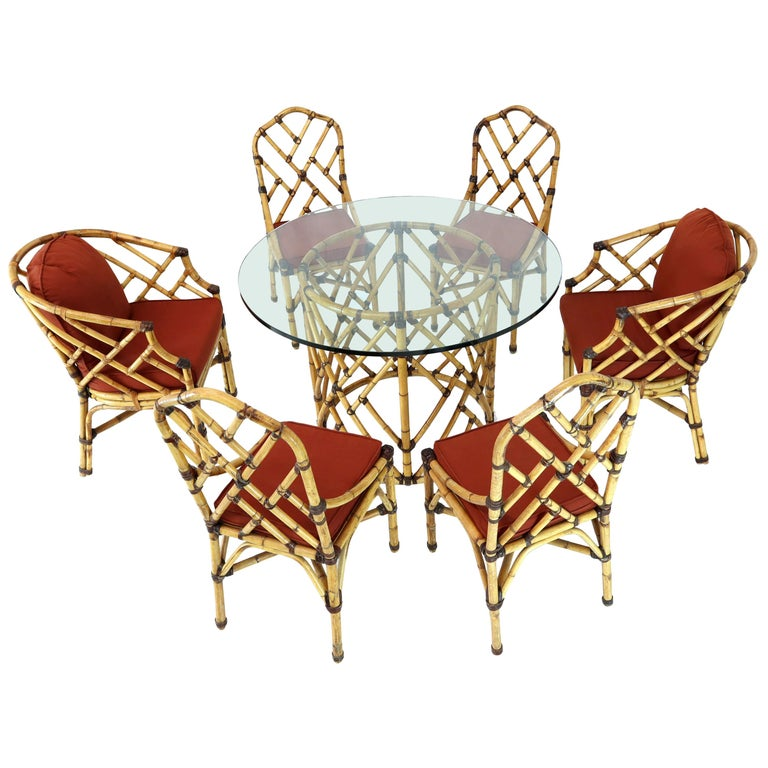 McGuire 7 Pieces Bamboo Dining Set Round Glass Top Table ...