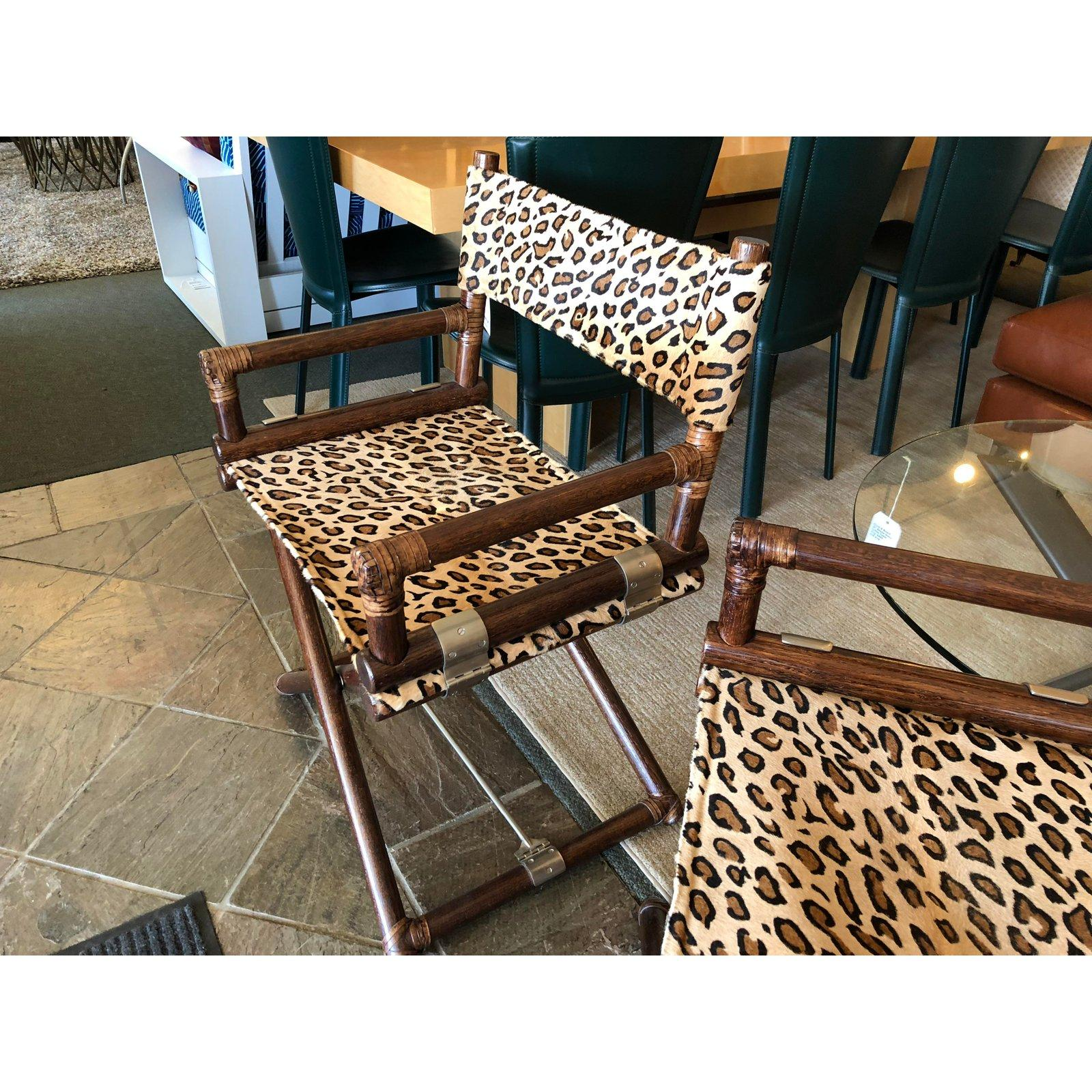 mcguire animal print campaign chairs a pair for sale at 1stdibs rh 1stdibs com