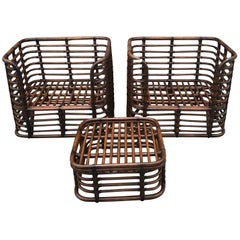 """McGuire Bamboo """"Grid"""" Club Chairs and Ottoman Suite of Frames, Restored"""