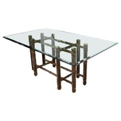 McGuire Bamboo Leather Straps Brass Caps Base Glass Top Rectangle Dining Table