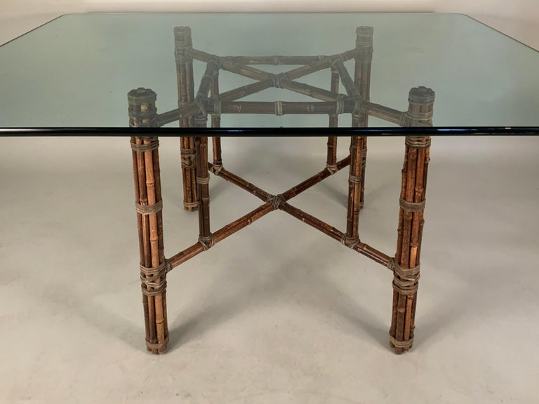 American McGuire Bamboo Rattan 1960s Dining Table For Sale