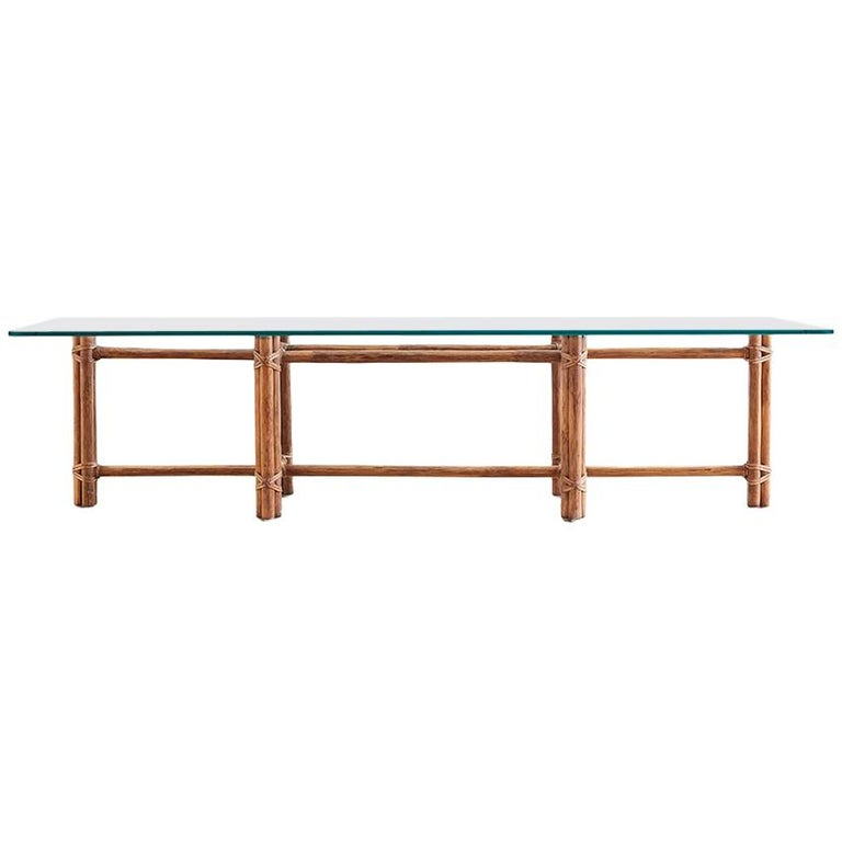McGuire Bamboo Rattan Low Cocktail Table For Sale At 1stdibs
