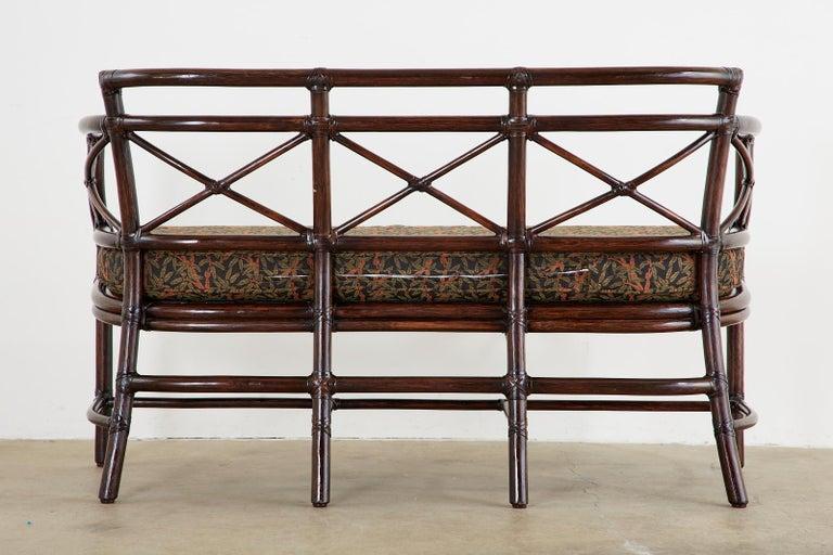 McGuire Bamboo Rattan Organic Modern Gondola Settee Bench For Sale 12