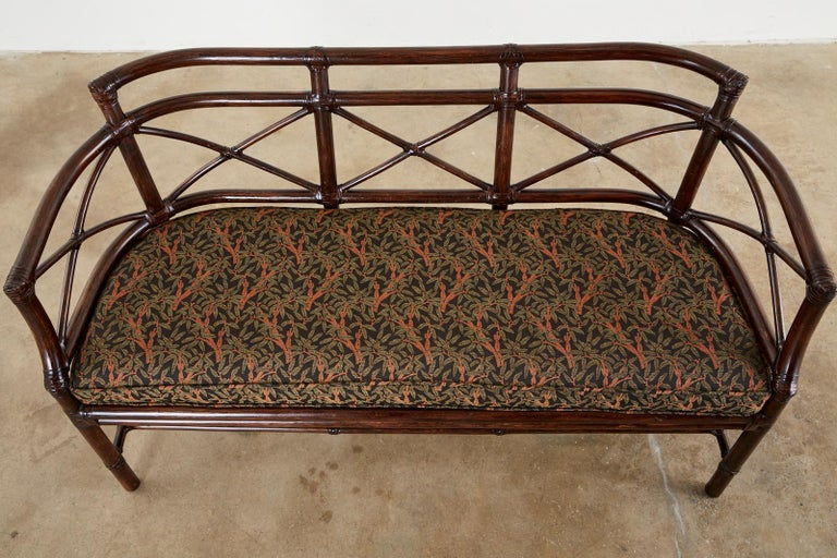 Hand-Crafted McGuire Bamboo Rattan Organic Modern Gondola Settee Bench For Sale