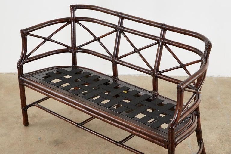 Contemporary McGuire Bamboo Rattan Organic Modern Gondola Settee Bench For Sale