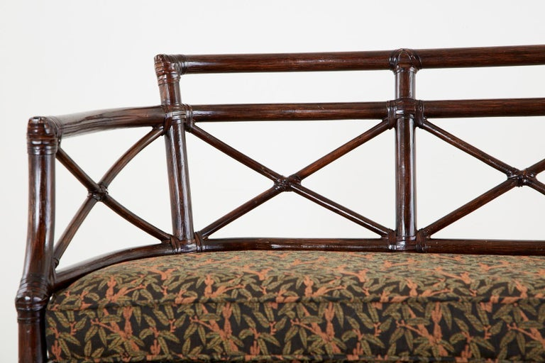 McGuire Bamboo Rattan Organic Modern Gondola Settee Bench For Sale 3