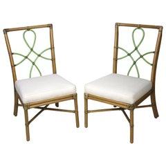 McGuire Bamboo Side Chairs Diamond Ribbon Back