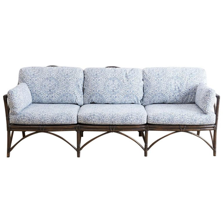 mcguire blue and white upholstered bamboo rattan sofa for sale at 1stdibs. Black Bedroom Furniture Sets. Home Design Ideas