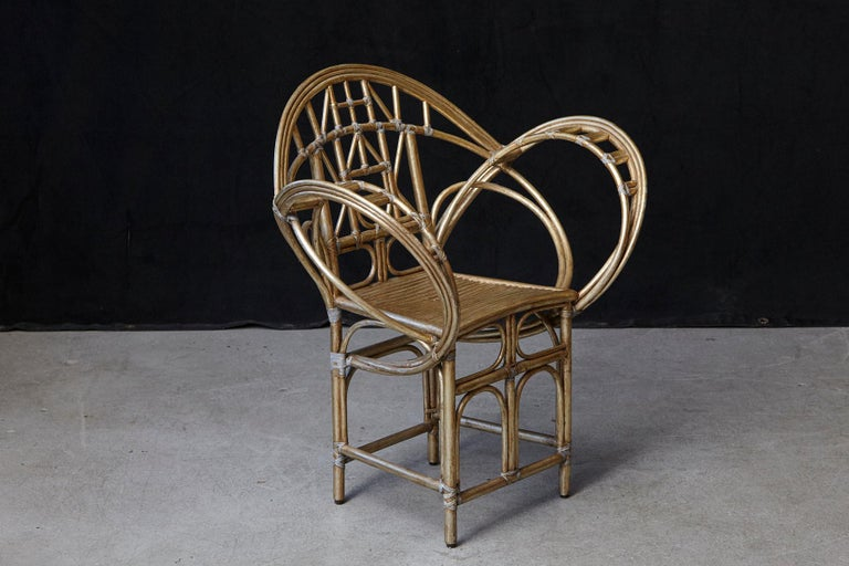 Mid-Century Modern McGuire Butterfly Chair, M-131 in Gold Tone Finish For Sale