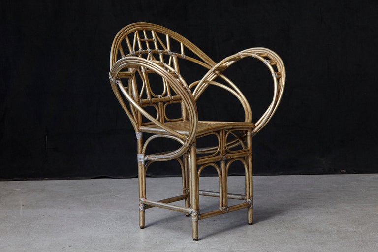 American McGuire Butterfly Chair, M-131 in Gold Tone Finish For Sale
