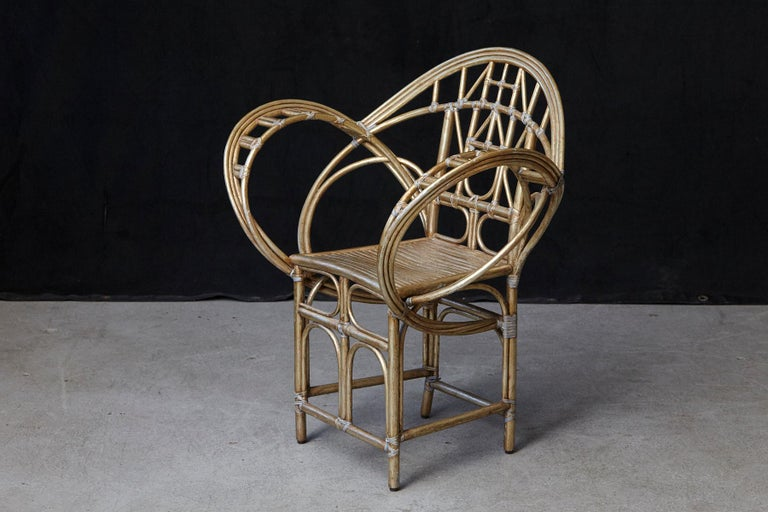 McGuire Butterfly Chair, M-131 in Gold Tone Finish In Good Condition For Sale In Weston, CT
