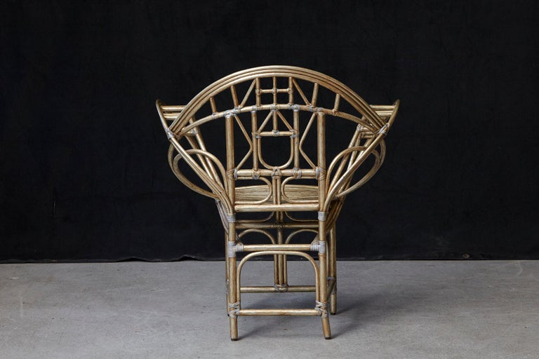 Leather McGuire Butterfly Chair, M-131 in Gold Tone Finish For Sale