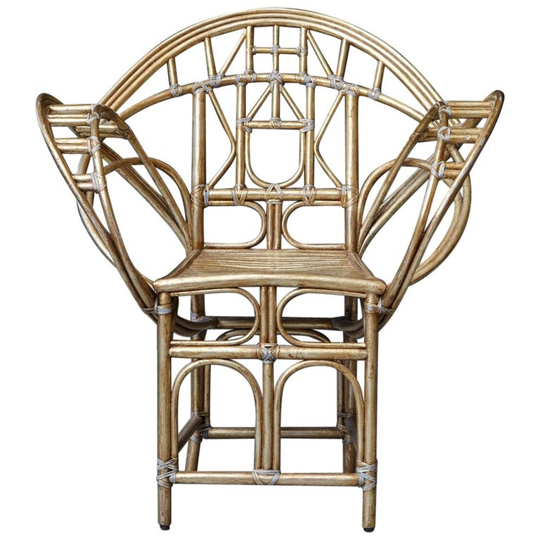 McGuire Butterfly Chair, M-131 in Gold Tone Finish For Sale