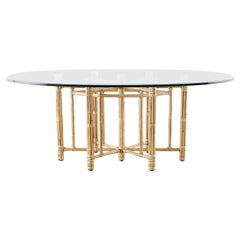 McGuire California Modern Bamboo Rattan Oval Dining Table