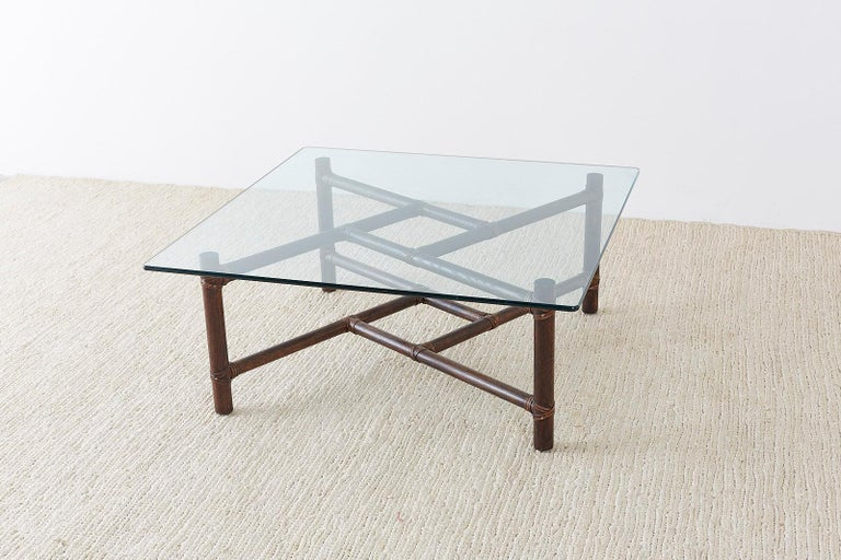 McGuire California Modern Bamboo Rattan Square Cocktail Table For Sale 5