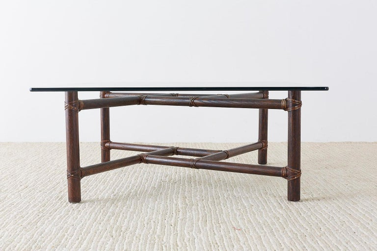 McGuire California Modern Bamboo Rattan Square Cocktail Table For Sale 6