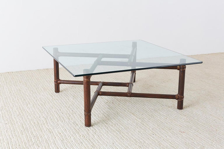 McGuire California Modern Bamboo Rattan Square Cocktail Table For Sale 10