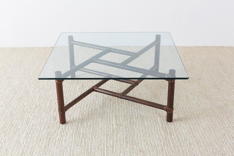 Organic Modern McGuire California Modern Bamboo Rattan Square Cocktail Table For Sale