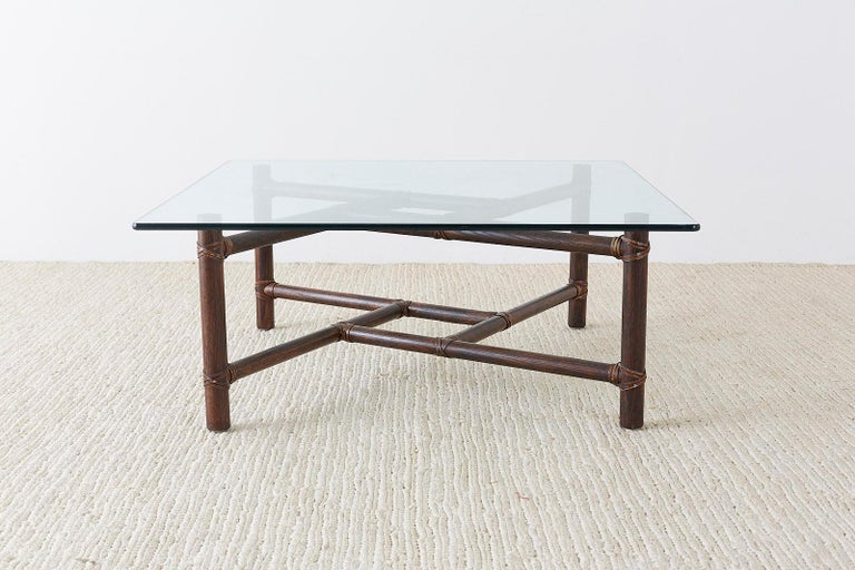 Hand-Crafted McGuire California Modern Bamboo Rattan Square Cocktail Table For Sale