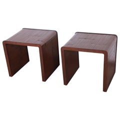 McGuire California Modern Faux Bamboo End Tables, Pair