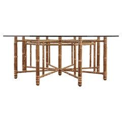 McGuire California Modern Octagonal Bamboo Rattan Dining Table