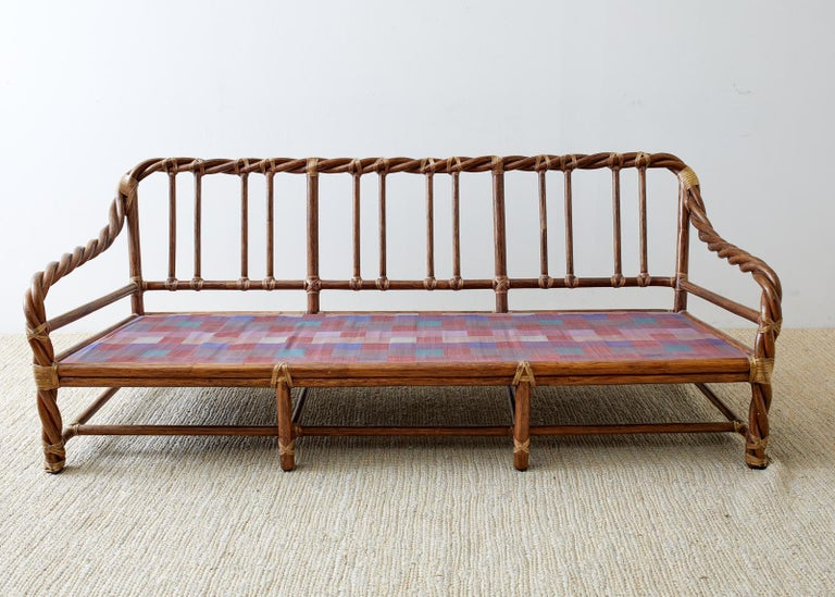 McGuire California Organic Modern Twisted Rattan Sofa For Sale 6