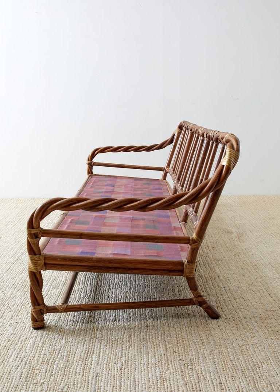 McGuire California Organic Modern Twisted Rattan Sofa For Sale 7