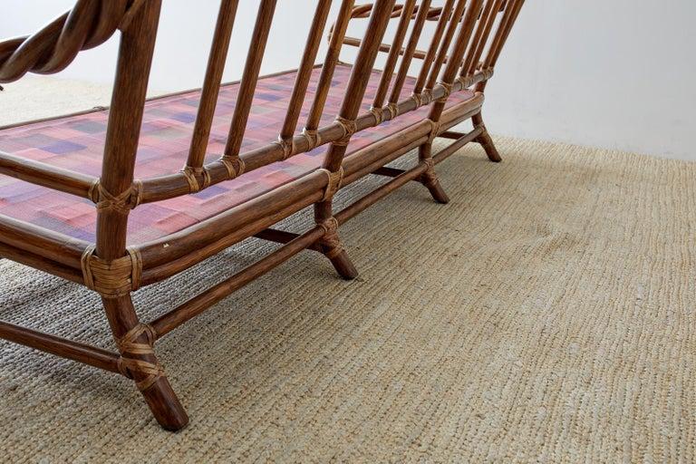 McGuire California Organic Modern Twisted Rattan Sofa For Sale 11