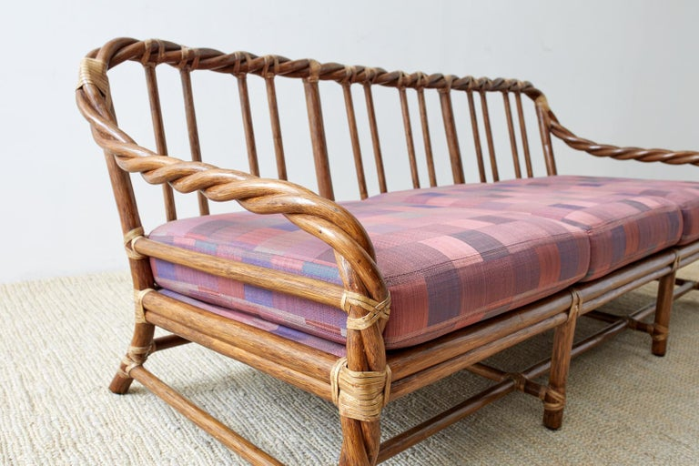 Hand-Crafted McGuire California Organic Modern Twisted Rattan Sofa For Sale