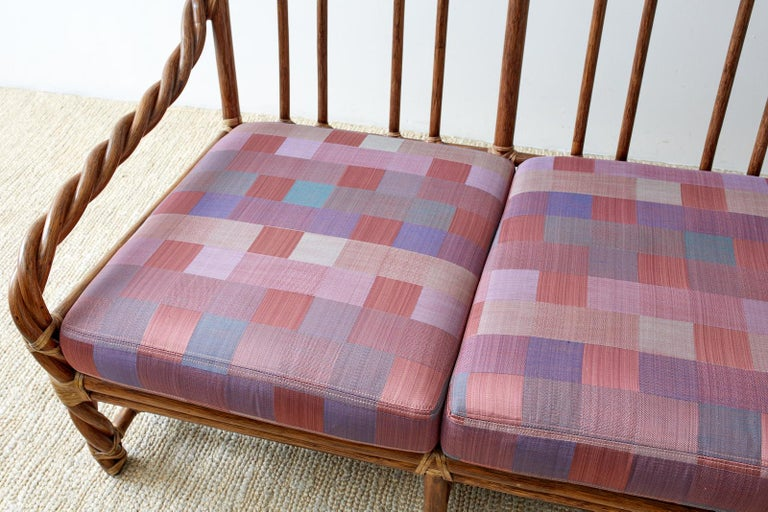 McGuire California Organic Modern Twisted Rattan Sofa In Good Condition For Sale In Oakland, CA