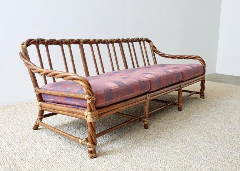 20th Century McGuire California Organic Modern Twisted Rattan Sofa For Sale