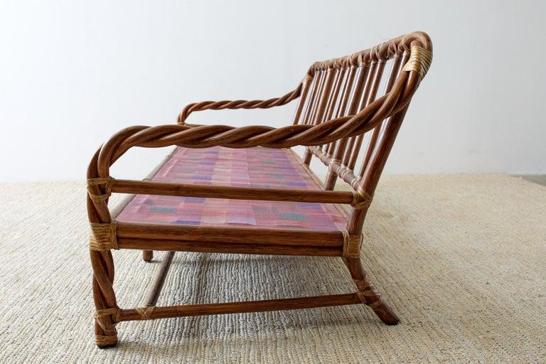 Leather McGuire California Organic Modern Twisted Rattan Sofa For Sale