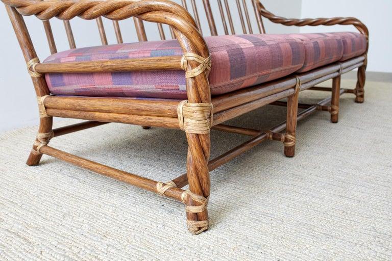 McGuire California Organic Modern Twisted Rattan Sofa For Sale 1