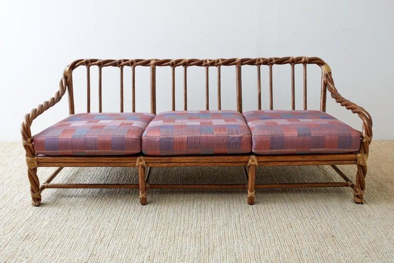 McGuire California Organic Modern Twisted Rattan Sofa For Sale 2