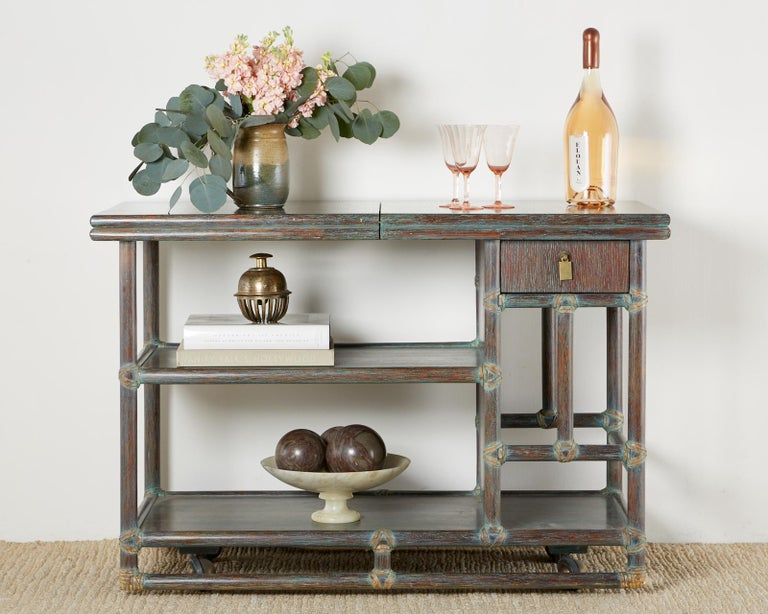 McGuire Cerused Rattan Oak Bar Cart Server Buffet  For Sale 7