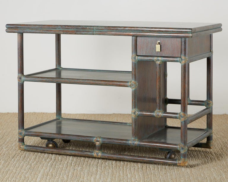American McGuire Cerused Rattan Oak Bar Cart Server Buffet  For Sale