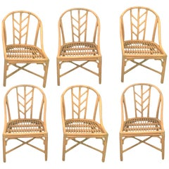 McGuire Dining Room Chairs Set of 6 Rattan Raw Hide Wraps