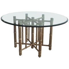 McGuire Dining Table Rattan and Bamboo with Raw Hide Wraps