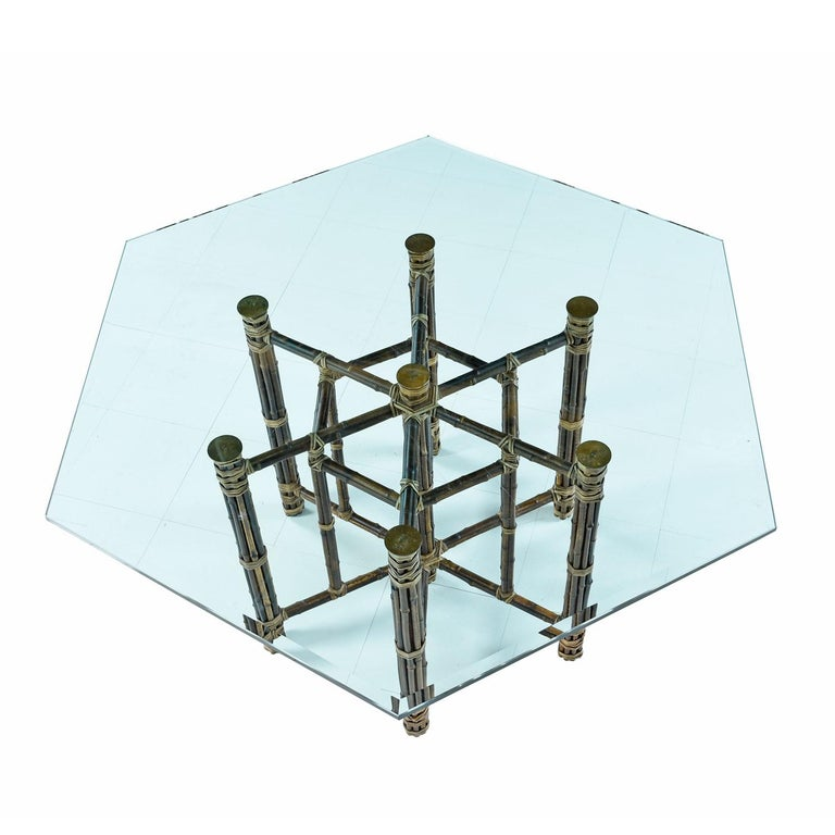Mid-Century Modern McGuire Dining Table, Rattan and Brass Base with Hexagon Glass Top For Sale